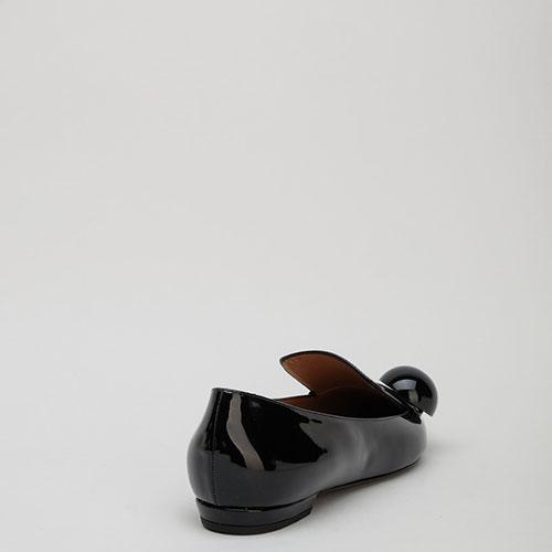 Черные лаковые балетки Emporio Armani с острым носом, фото
