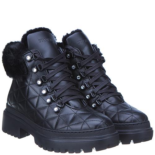 Черные стеганые ботинки Stokton на низком каблуке, фото