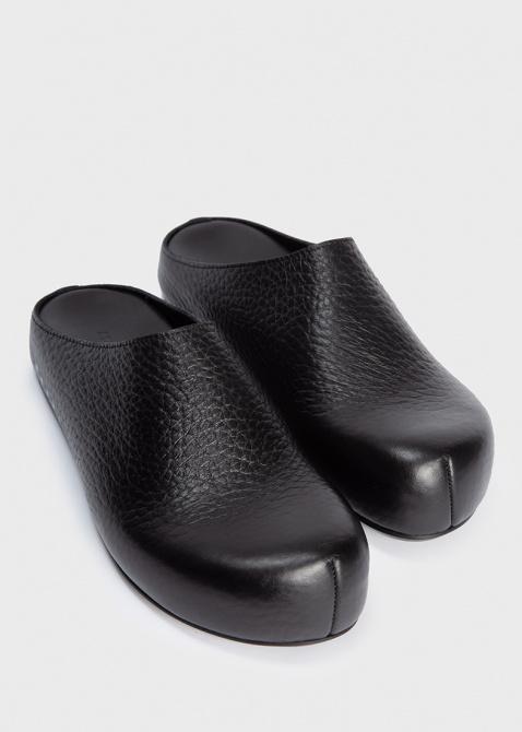 Мюли черного цвета Marni из крупнозернистой кожи, фото