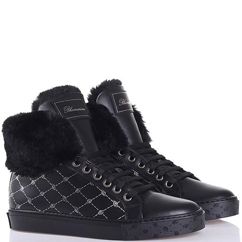 Ботинки Blumarine черного цвета с принтом, фото