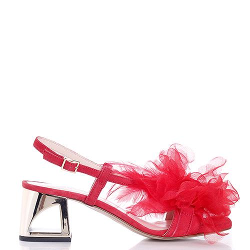 Красные босоножки Tosca Blu на золотистом каблуке, фото