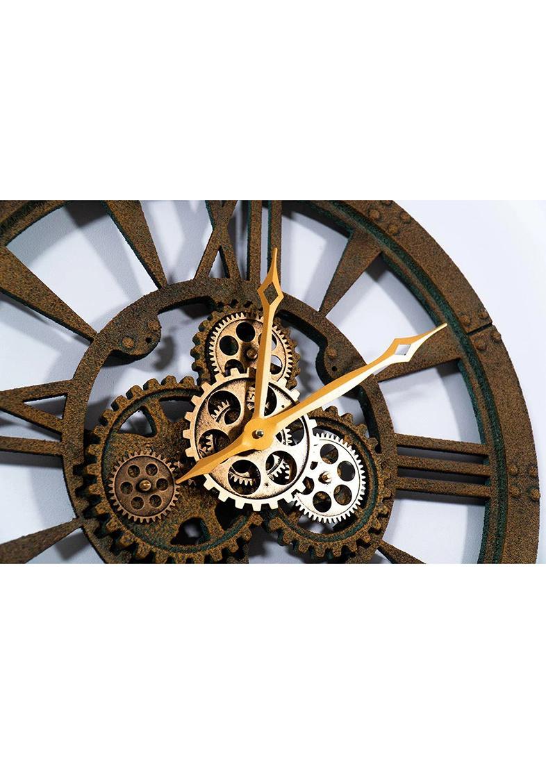 Часы настенные Skeleton Clocks Obwalden бронзовые в стиле лофт