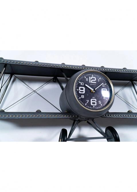 Дизайнерские часы Loft Clocks & Co Steve с полкой в виде биплана, фото