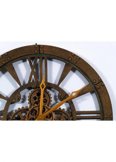 Часы настенные Skeleton Clocks Obwalden бронзовые в стиле лофт, фото