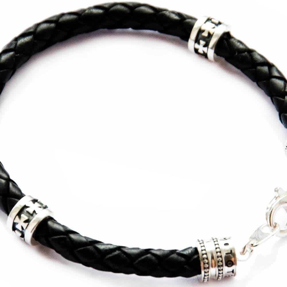 Кожаный браслет TOTEM Adventure Jewelry Symbols с мальтийским крестом