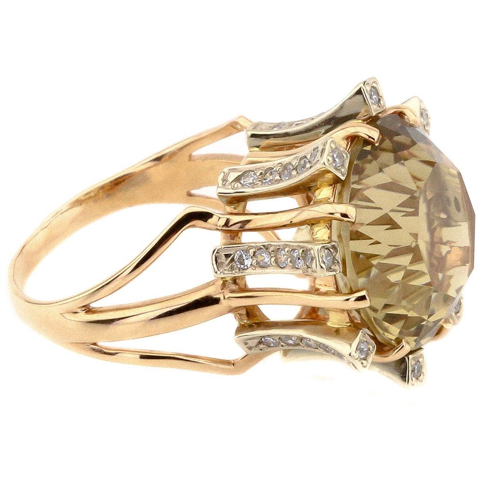 Золотое кольцо с зеленым цитрином