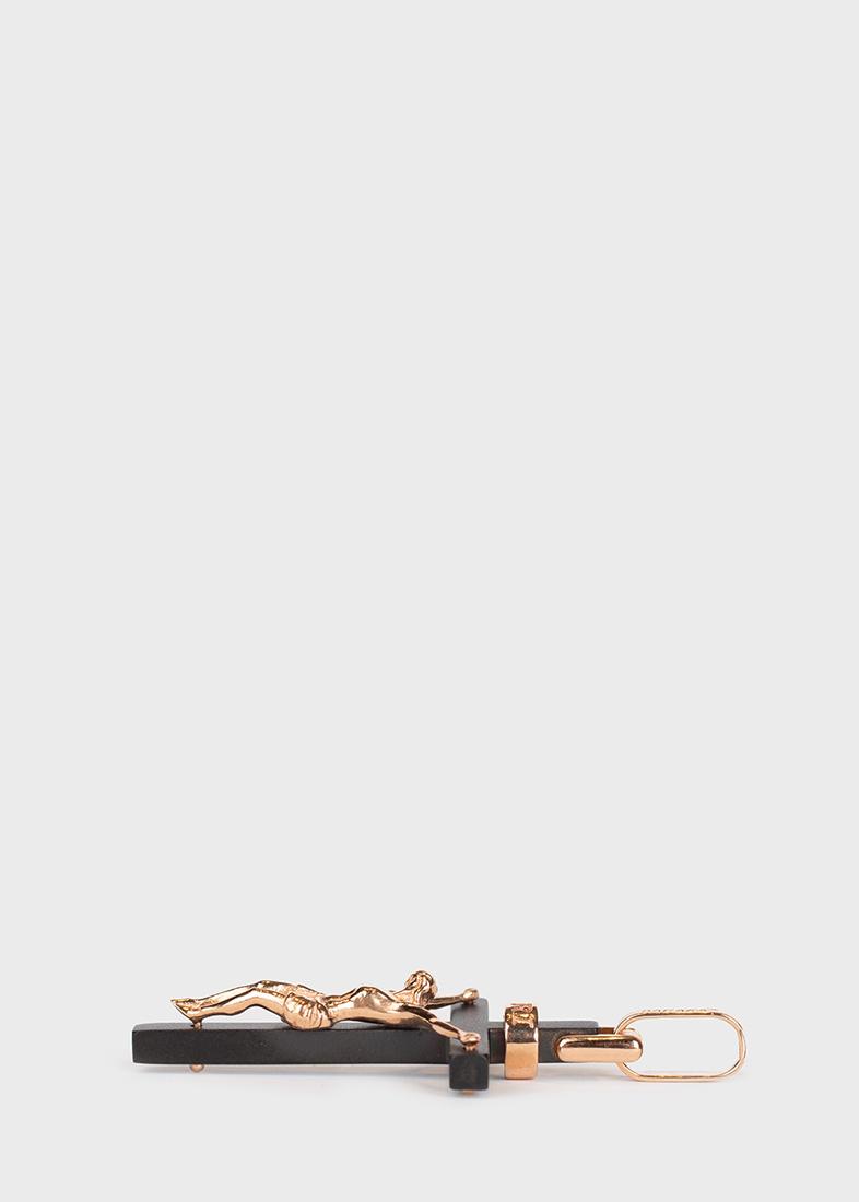 Крест-подвеска Baraka Cyborg Ceramic из розового золота и стали