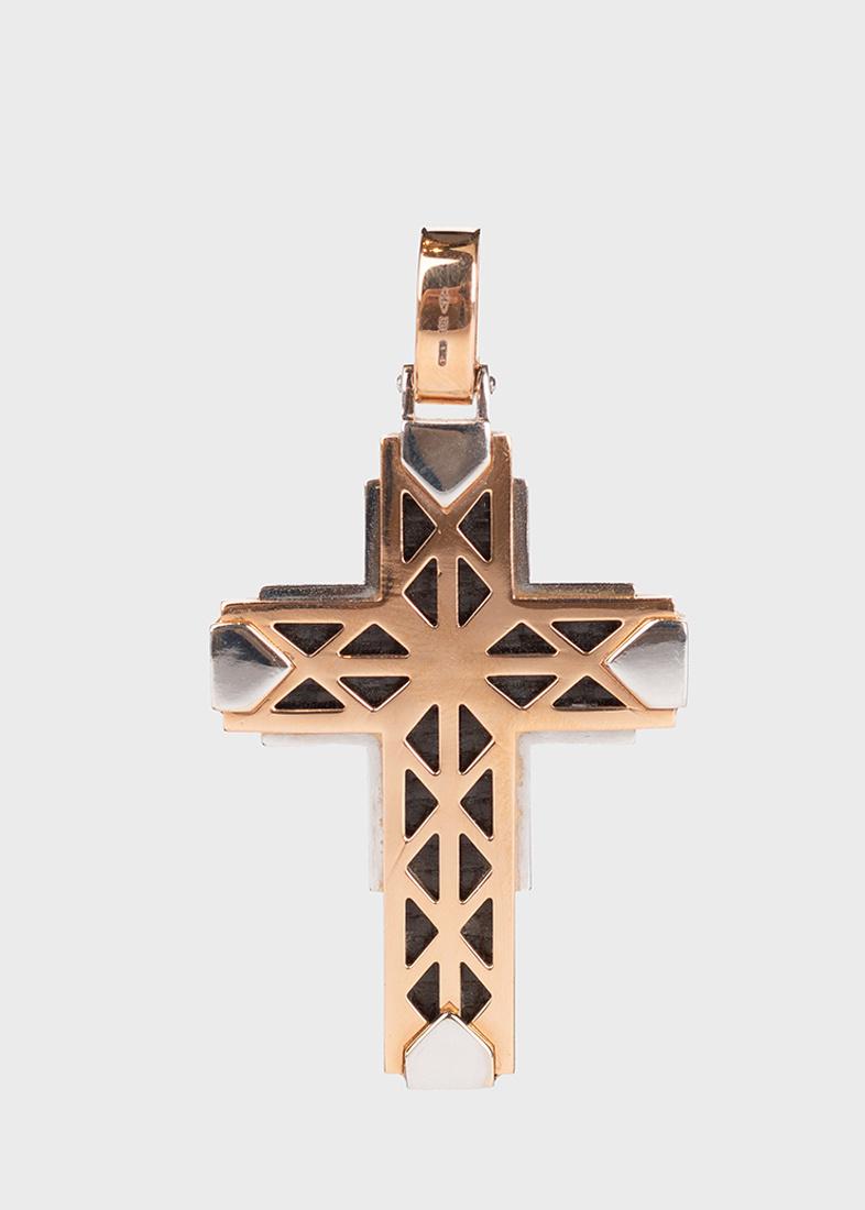 Мужской крест-подвеска Baraka Fiber из розового и белого золота