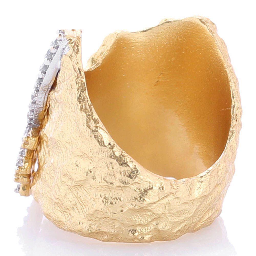 Широкое кольцо Misis Madrepore фианитами