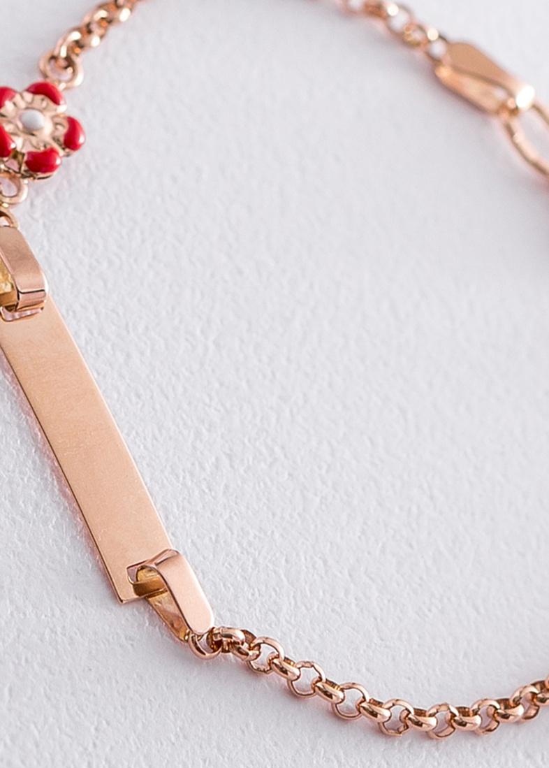 Золотой браслет Сердце и цветок под гравировку