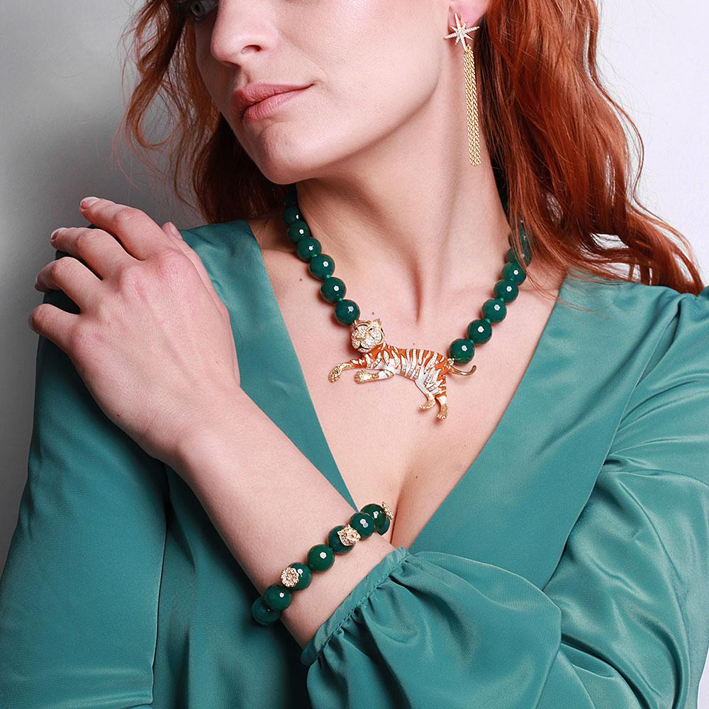Серебряный браслет Misis Sumatra с зеленым агатом