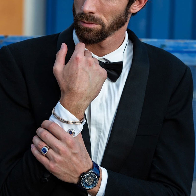 Мужской перстень Zancan Couture Sapphir с синим сапфиром