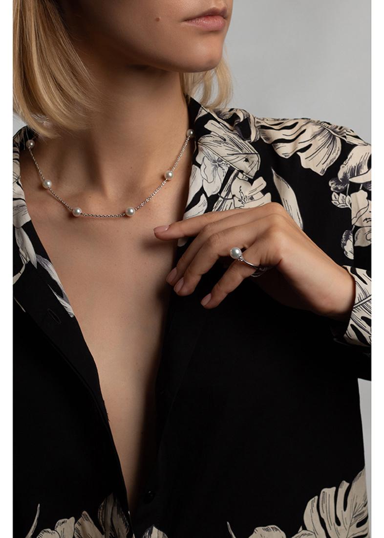 Золотое ожерелье Yamagiwa с бриллиантами и жемчугом