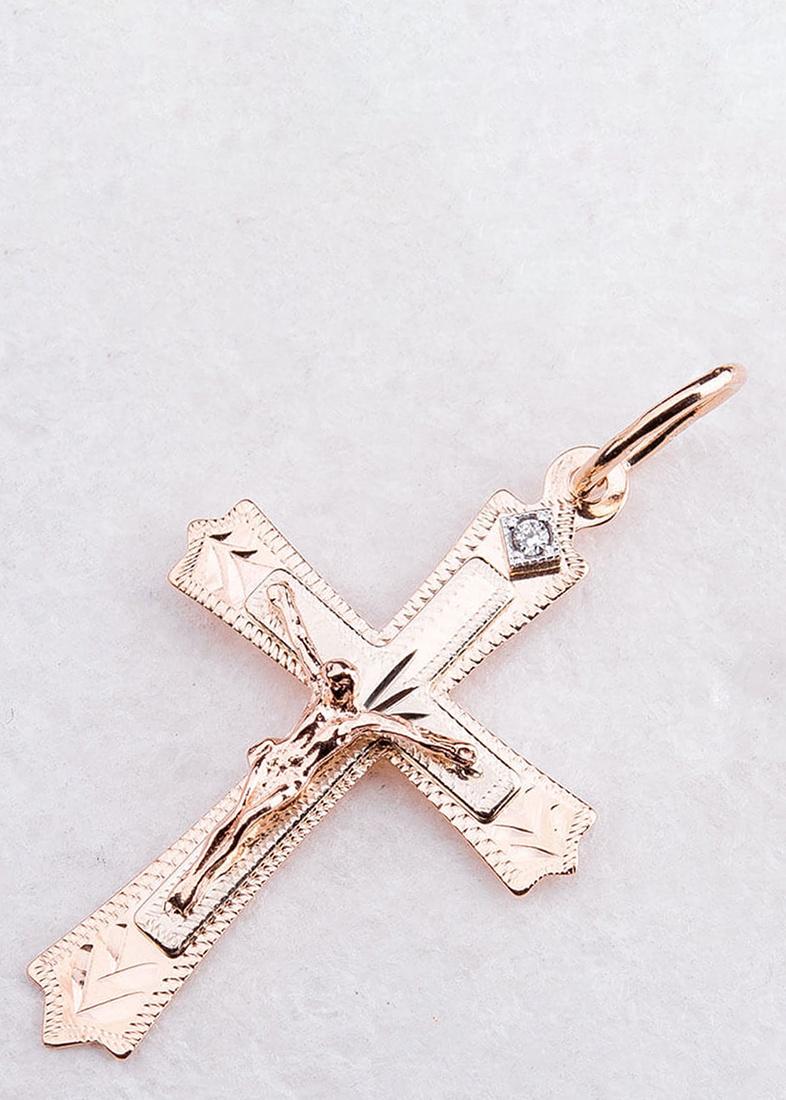 Золотой крест с фианитом