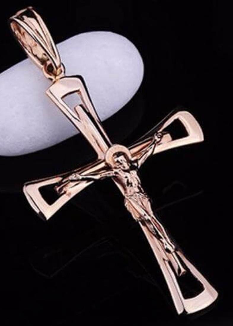 Крестик из золота на фигурной основе
