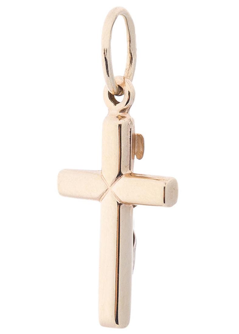 Крестик в комбинированном цвете золота