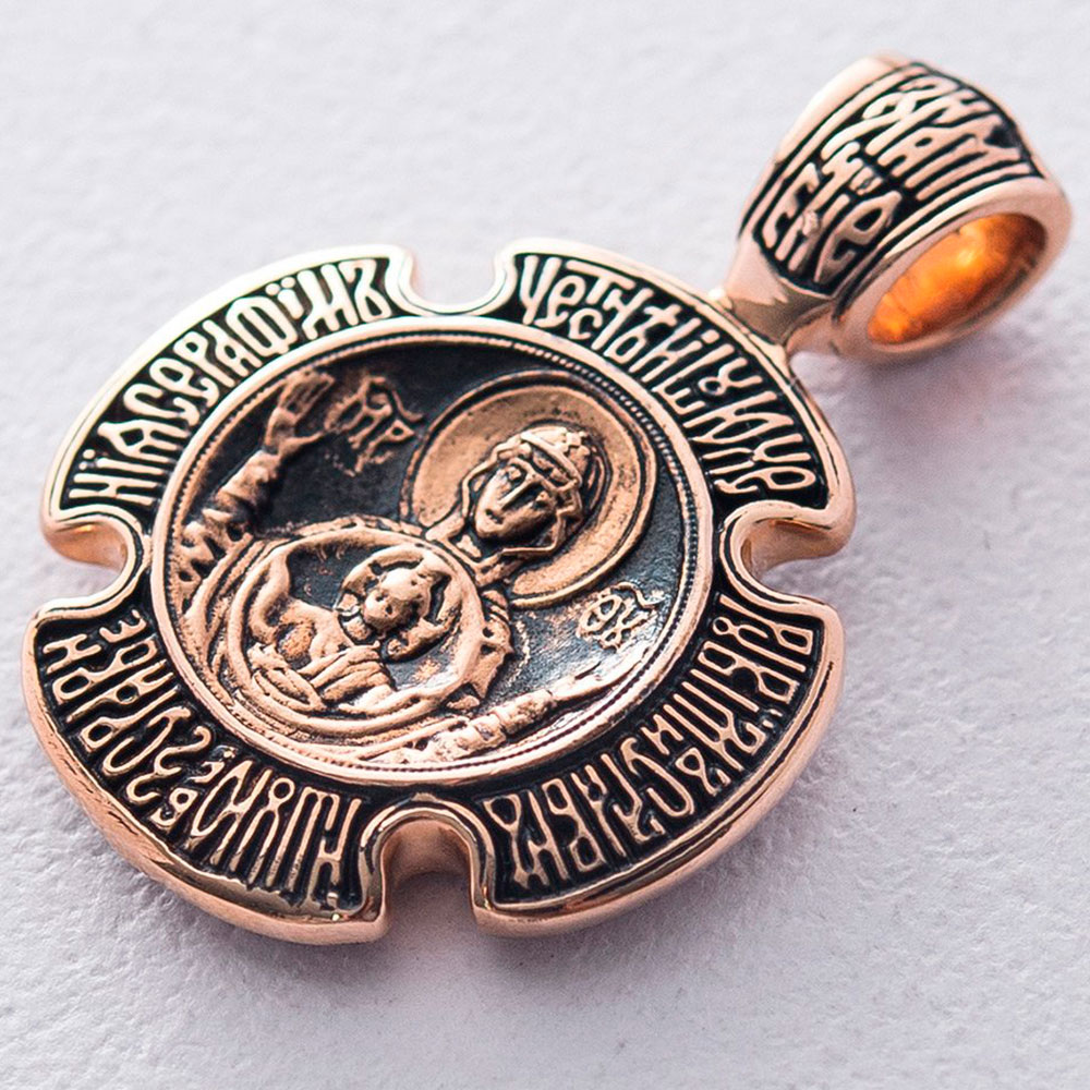 Черненая ладанка Знамение из красного золота