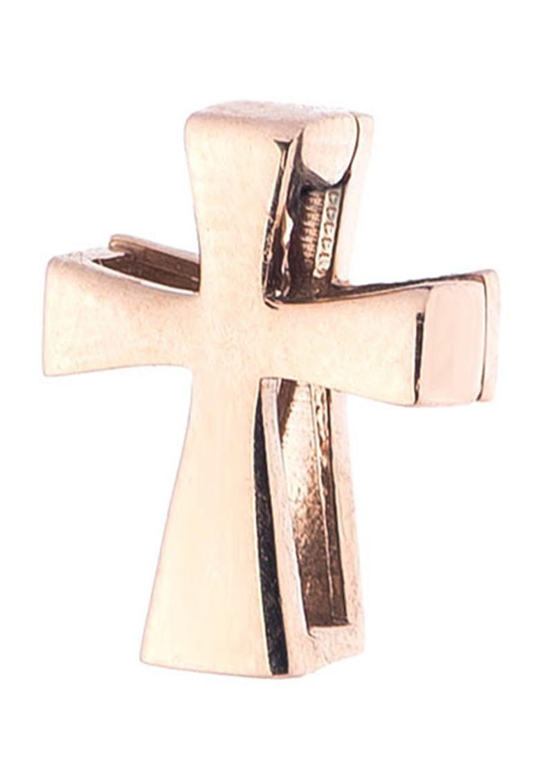 Гладкий крестик из красного золота