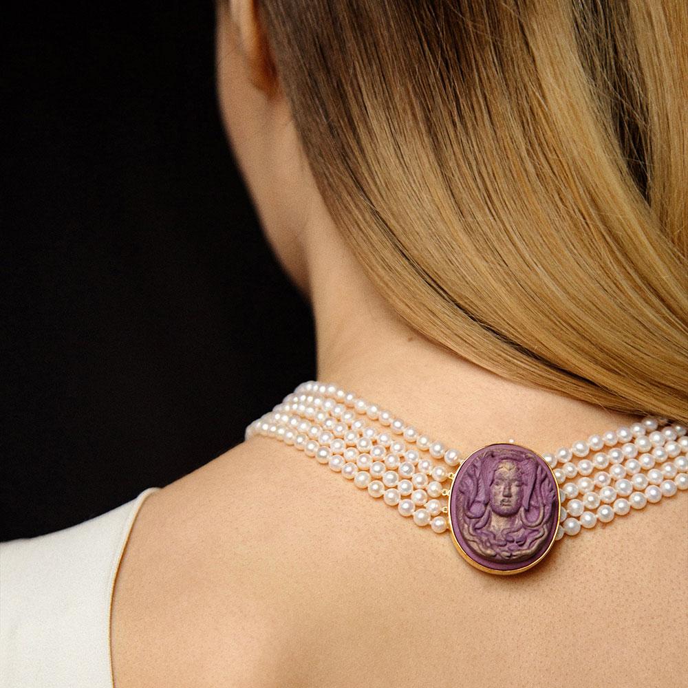 Подвес к браслету или ожерелью rockah. Amor Vincit Omnia Горгона из фарфора с примесью золота