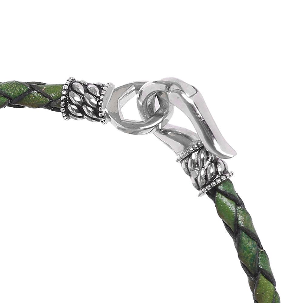 Кожаный плетеный браслет Zeades с серебряной застежкой