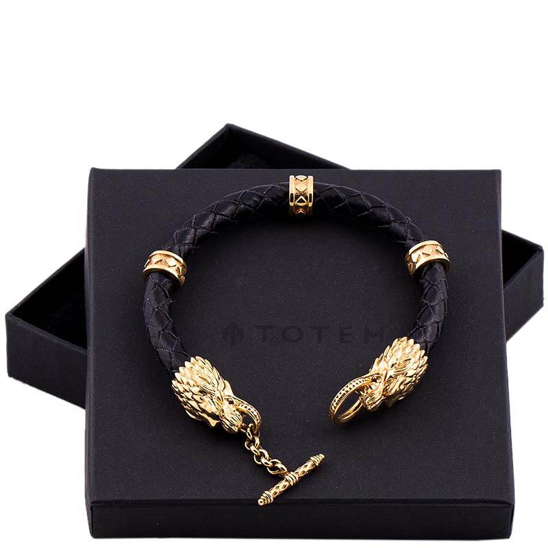 Кожаный браслет TOTEM Adventure Jewelry Wolf Gold с позолочеными волками