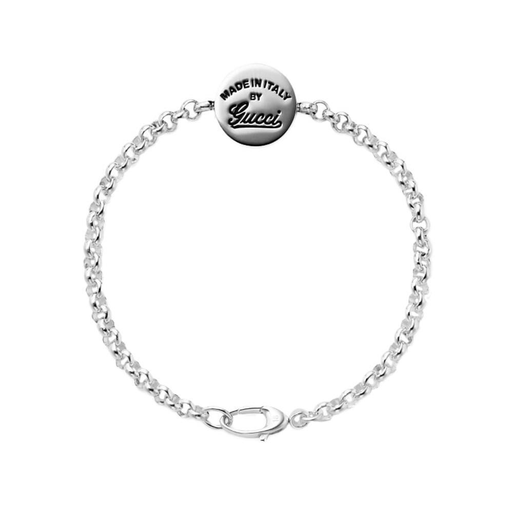 Серебряный браслет Gucci Craft с круглым диском на цепочке и гравировкой