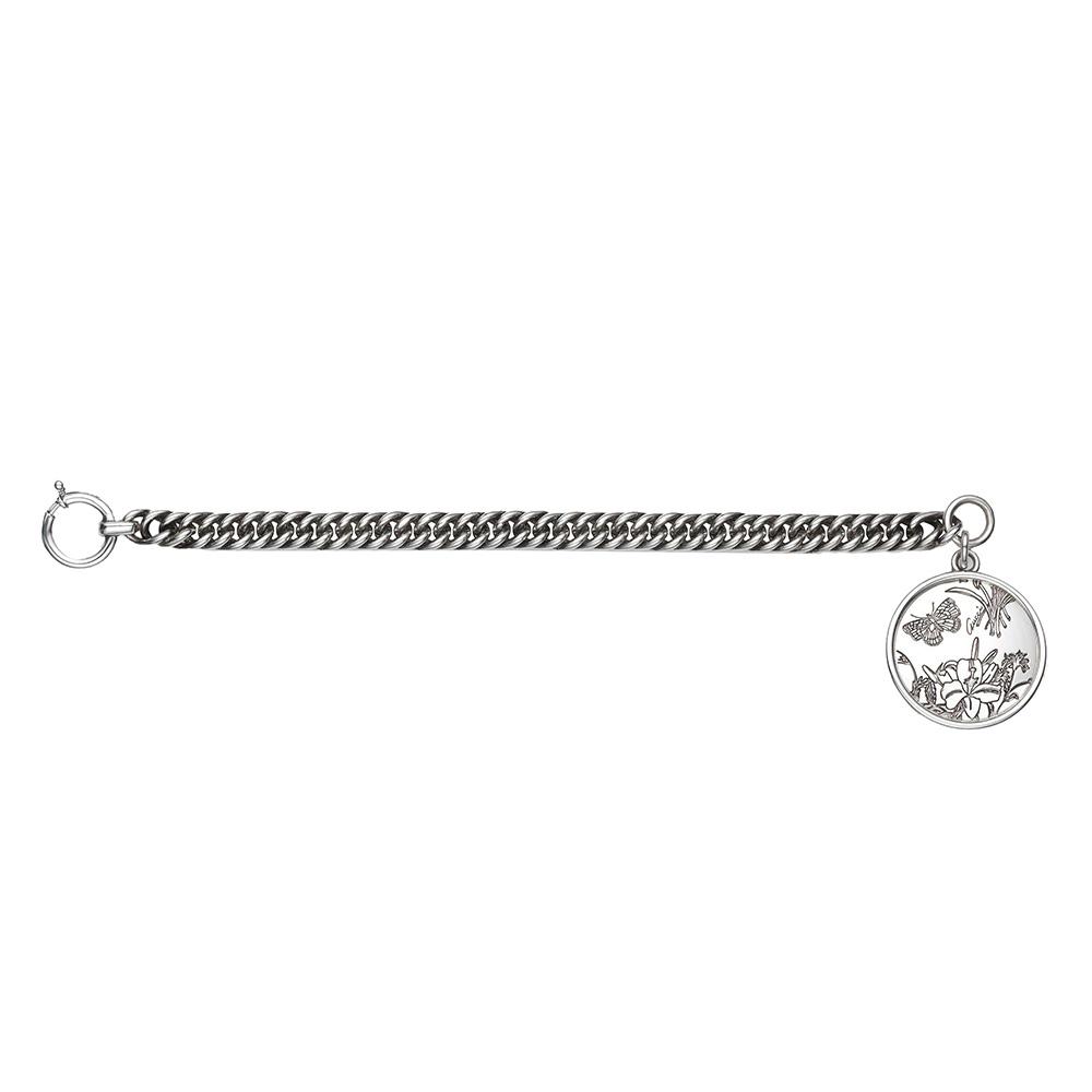 Серебряный шарм-браслет Gucci Flora с гравированной круглой подвеской