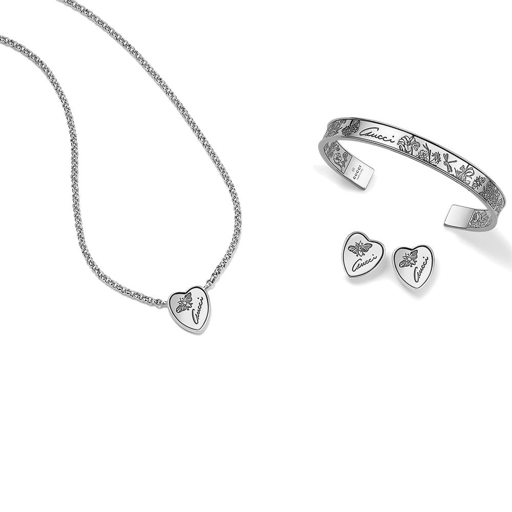 Незамкнутый браслет Gucci Flora с гравировкой из стерлингового серебра