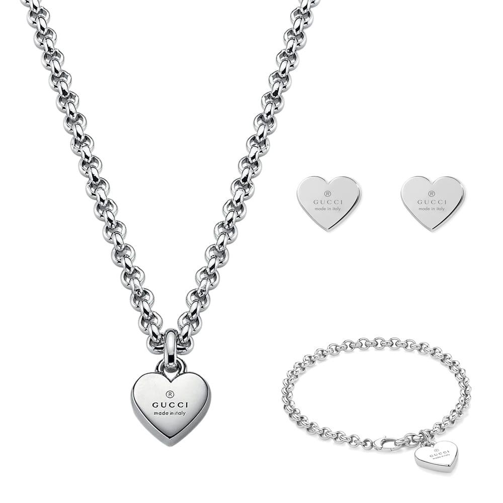 Браслет-цепочка Gucci Trademark с подвеской-сердцем с фирменной гравировкой