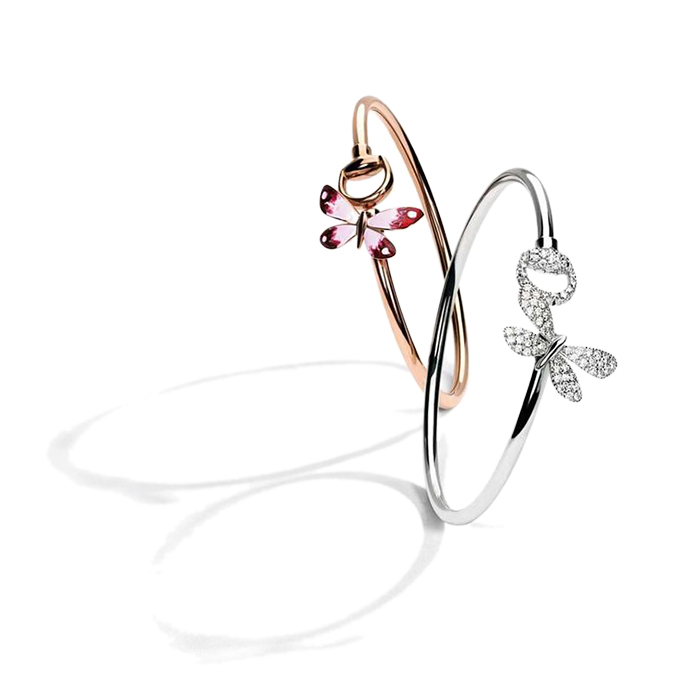 Золотой тонкий браслет Gucci Flora с розовой бабочкой и звеном из стремян