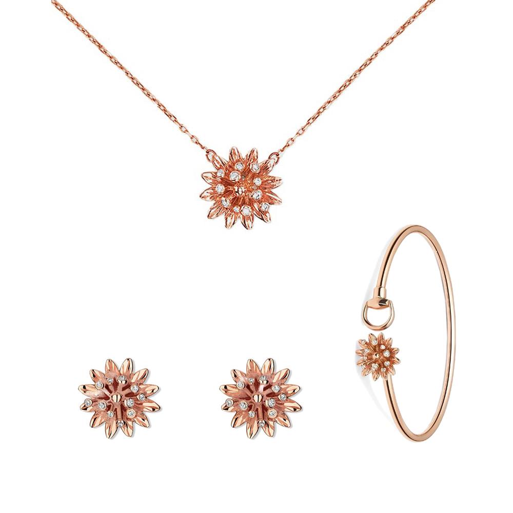 Золотой незамкнутый браслет Gucci Flora с цветком с бриллиантами