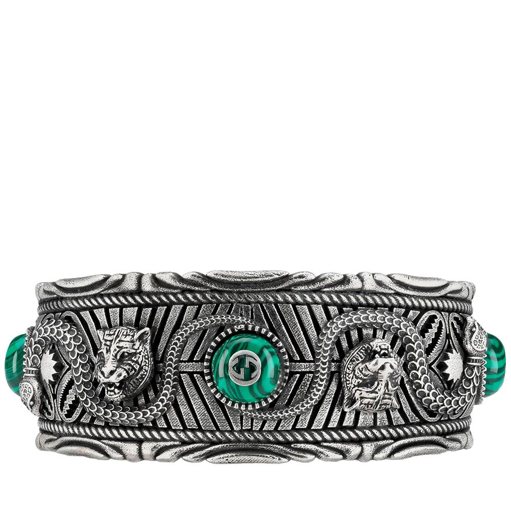 Серебряный браслет-кафф Gucci Garden с гравированными змеями и кошачьими головами