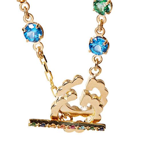 Золотой браслет Gucci Running G с логотипом и цветными камнями на цепочке