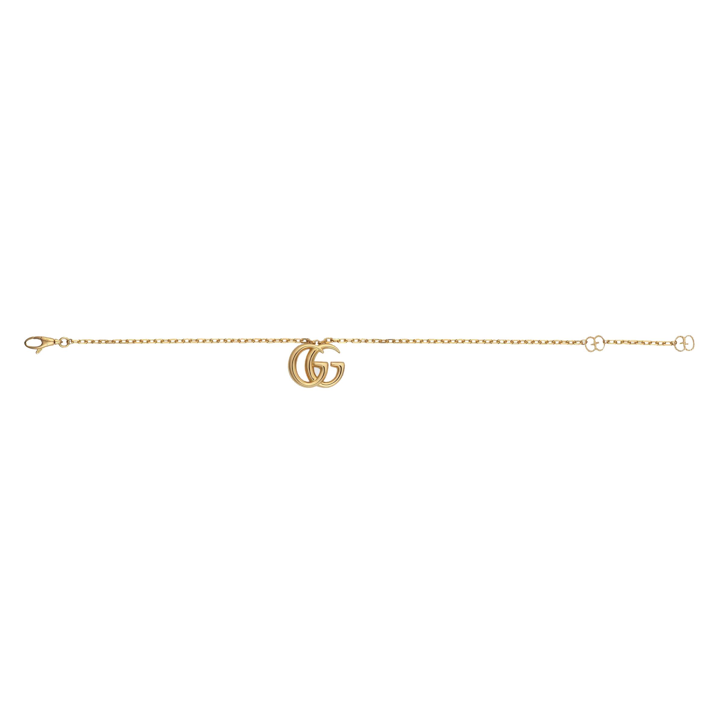 Золотой браслет Gucci Running G с подвеской на тонкой цепочке