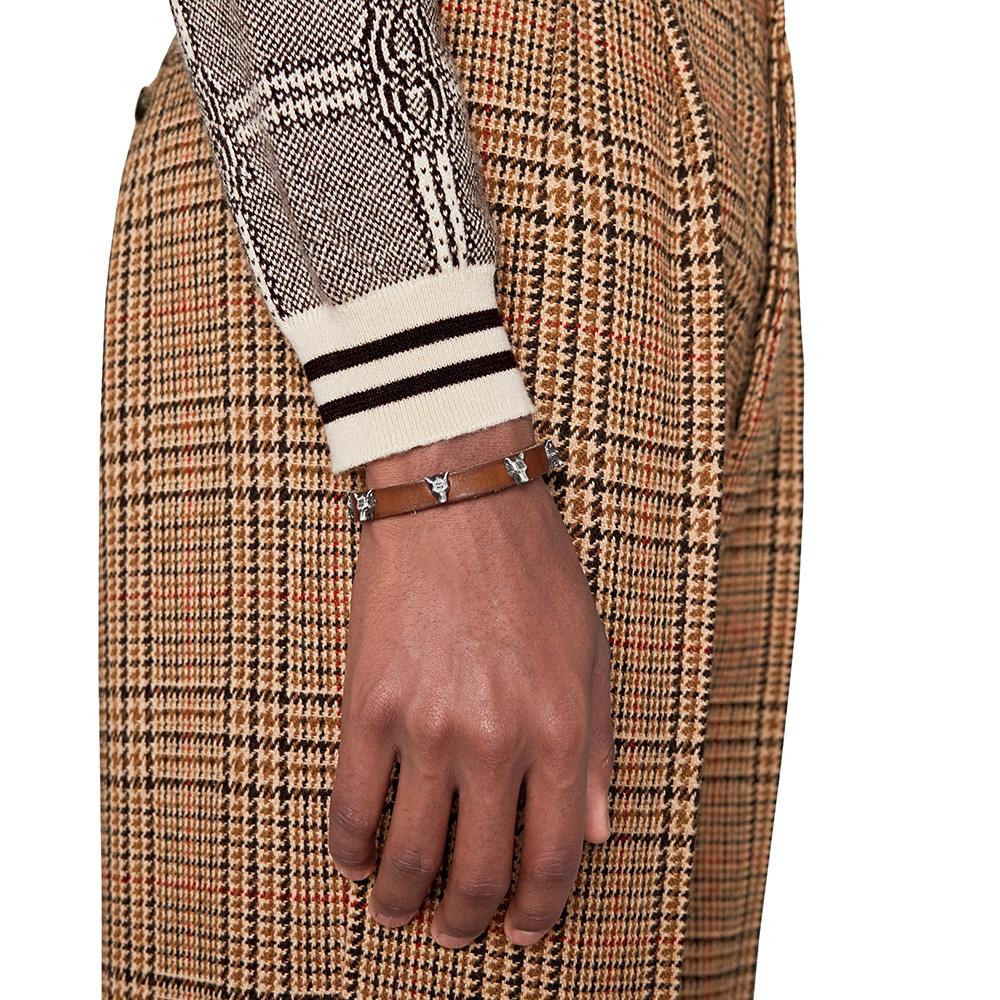 Коричневый кожаный браслет Gucci Anger Forest с серебряной пряжкой