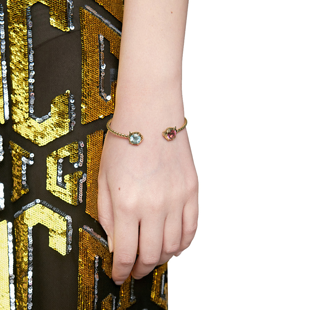 Витой браслет-кафф Gucci Le Marche des Merveilles с аквамарином и турмалином