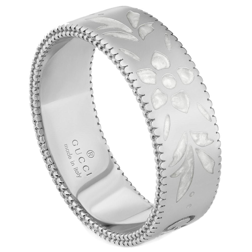 Широкое кольцо Gucci Icon из белого золота с тиснением и узором из эмали