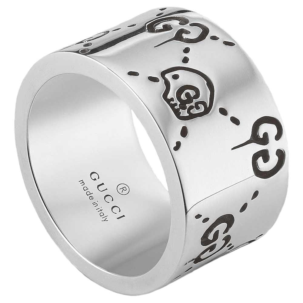 Широкое кольцо Gucci ghost из стерлингового серебра с выгравированными черепами