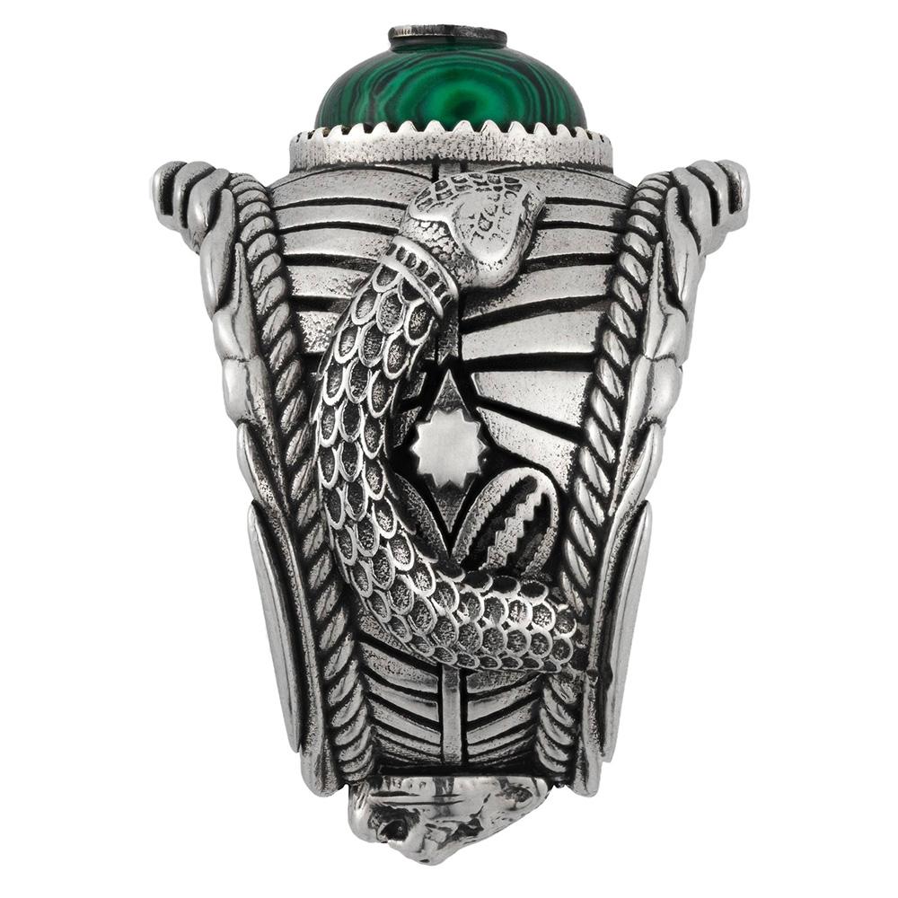 Серебряное широкое кольцо Gucci Garden с деталями 3D-змей и зеленой смолой