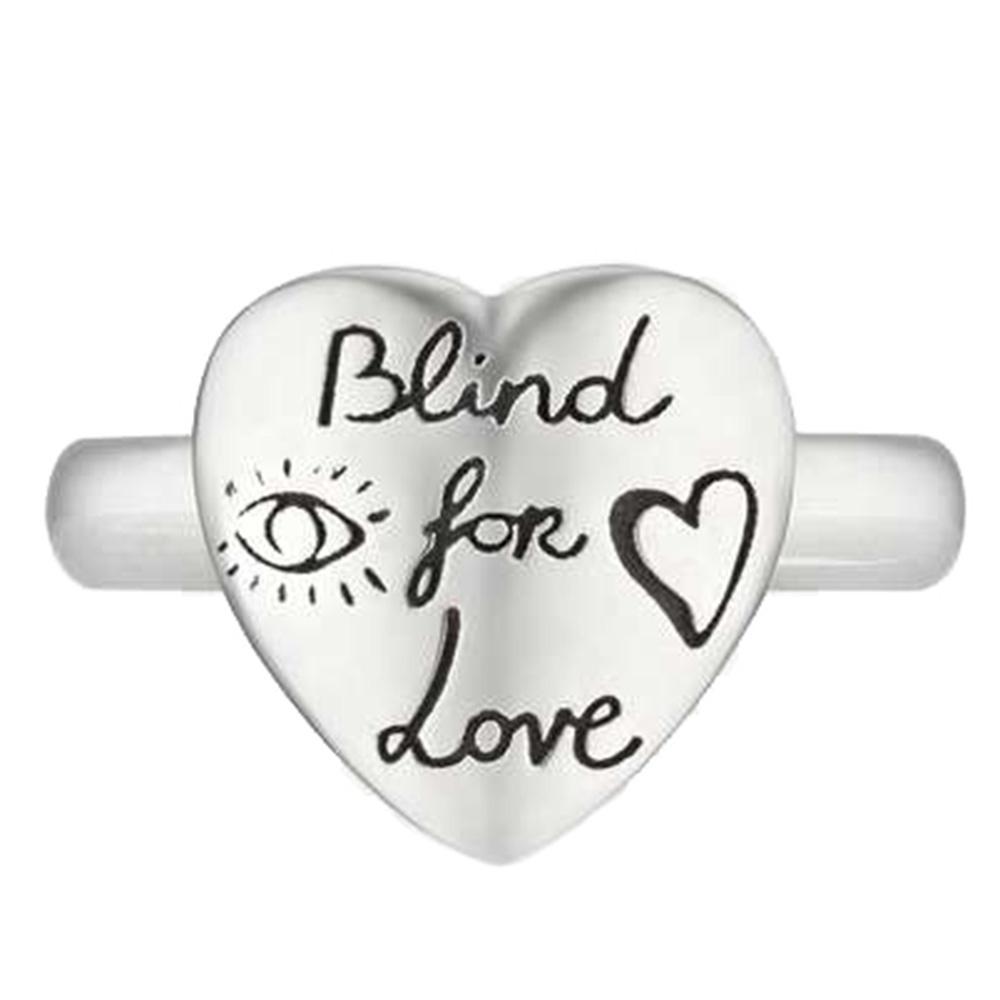 Серебряное кольцо Gucci Blind for love в виде сердца с гравировкой