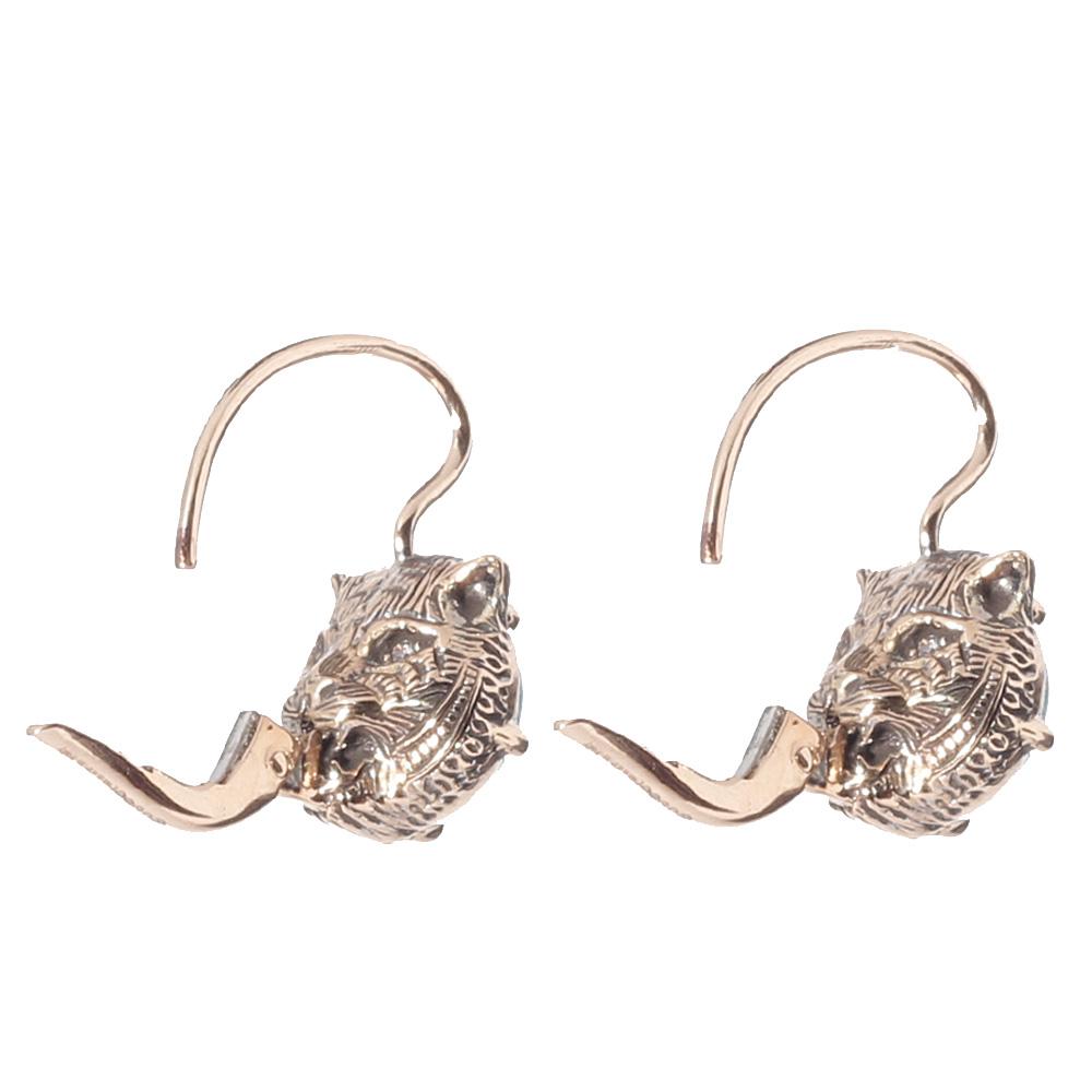 Золотые серьги Gucci Le Marche des Merveilles c бриллиантами и бирюзой