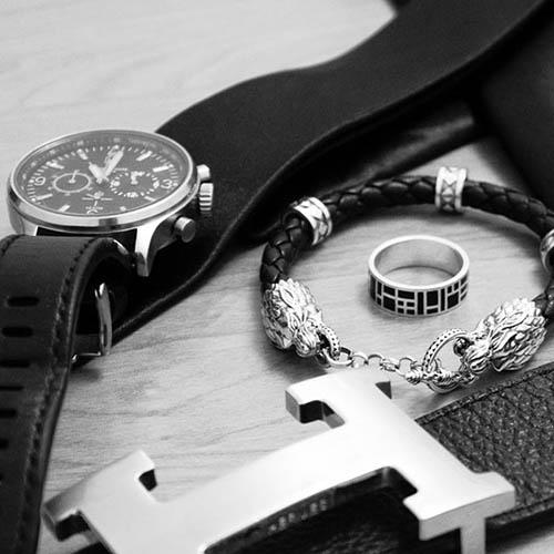 Кожаный браслет TOTEM Adventure Jewelry Wolf с серебряными волками, фото