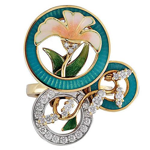 Крупное кольцо Faberge с цветочными мотивами, фото