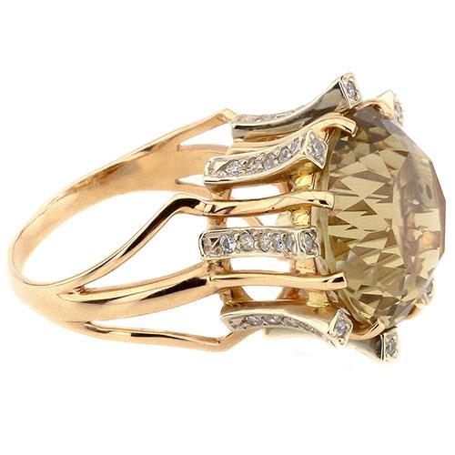 Золотое кольцо с зеленым цитрином, фото