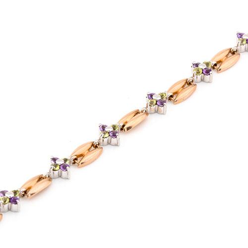Золотой браслет с хризолитом и аметистом в виде цветка, фото