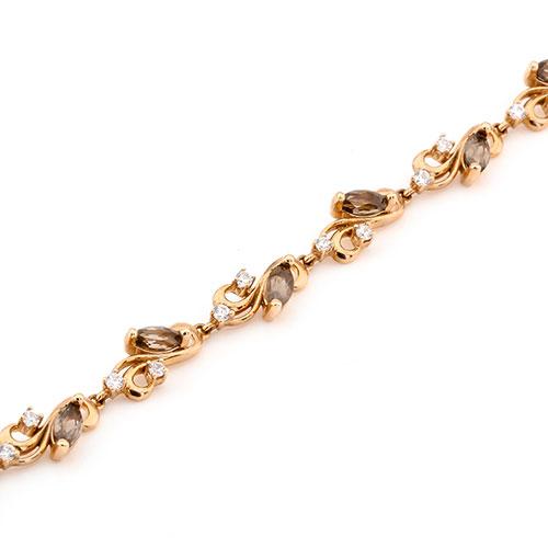 Золотой браслет с дымчатым кварцем и фианитами, фото