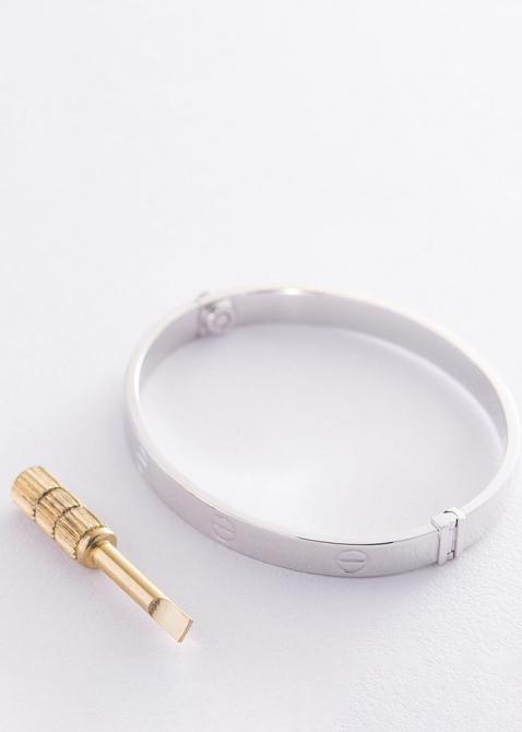 Гладкий браслет из белого золота, фото