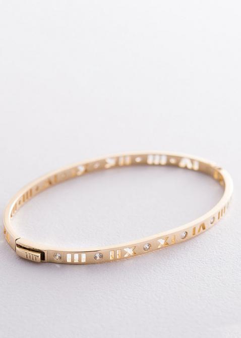 Жесткий золотой браслет Римские цифры, фото
