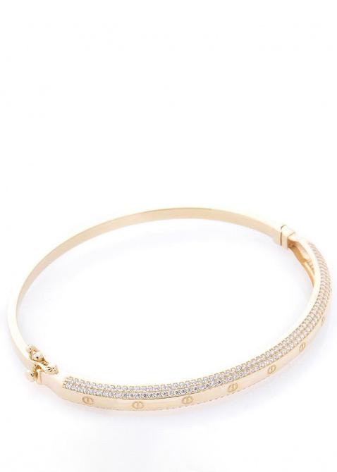 Жесткий золотой браслет с фианитами, фото