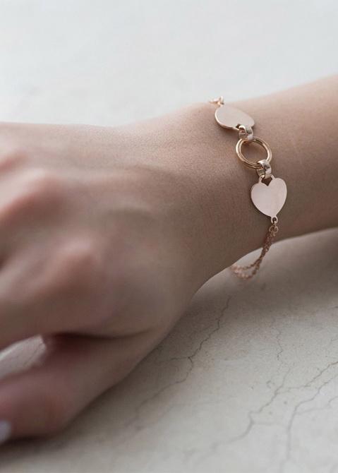 Двойной золотой браслет Два сердца, фото